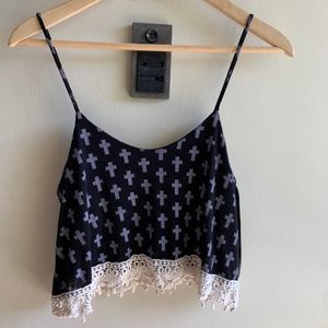 Honey Punch Cross Lace Crop Top size small